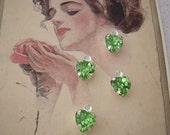 4 Heart Charm Vintage Swarovski Rhinestone Drop Peridot Green Crystal
