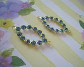 Pair of Vintage Swarovski Sapphire Blue Rhinestone Connectors 2 Loops Findings