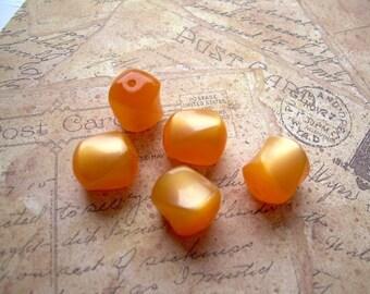 30 Petite Vintage Moonglow Lucite Beads Orange Apricot Twists
