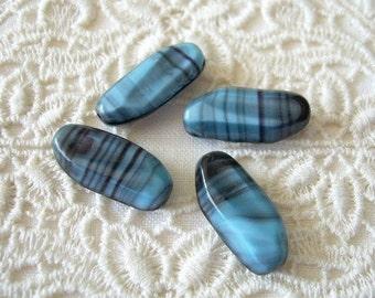 4 VINTAGE Glass Beads Blue Charcoal Grey Austria Stone-Like