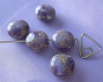 5 Glittery Purple Vintage Beads Lucite Thermoset Lentils Gold Flecks