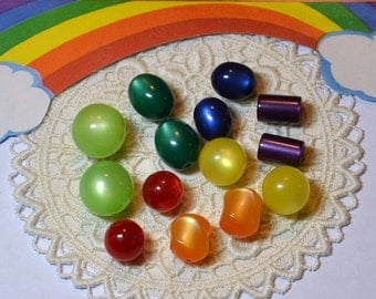 Pairs Assortment Vintage Moonglow Lucite Plastic Beads Rainbow Make Earrings