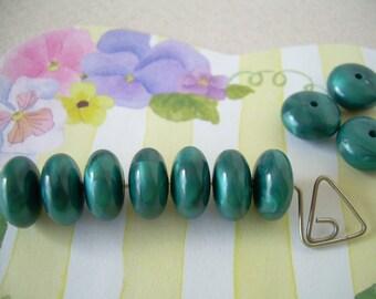 Vintage Lucite Beads Rondelles Teal Blue Lentils Spacers 10