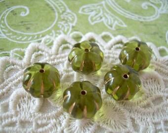 5 Bottle Green Vintage Glass Beads Pumpkins Gold Accents Fall