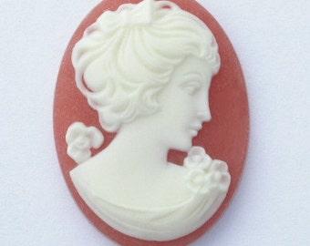 2 Vintage Resin Cameos Elegant Woman Terra Cotta Peach