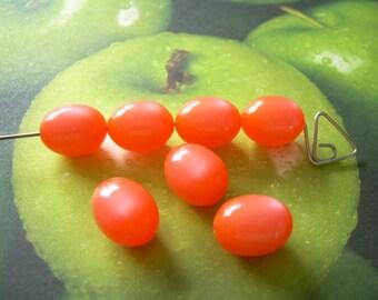 7 Vintage Beads Moonglow Lucite Orange Ovals 11x14mm