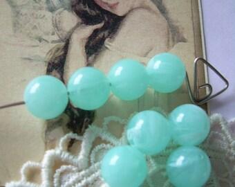 Ten Aqua Skies Vintage Lucite Beads Milky Turquoise Rounds