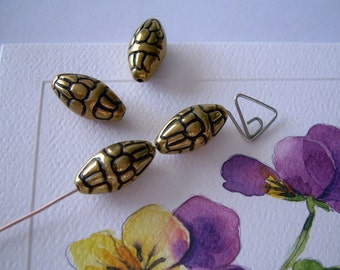 4 Golden Vintage Lucite Beads Oblong Oval Gold Black Accents