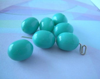7 Turquoise Blue Robin Egg Vintage Lucite Beads Chubby Oval