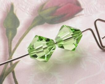 Vintage 10mm Swarovski Beads Peridot Green Crystal Bicone Pair
