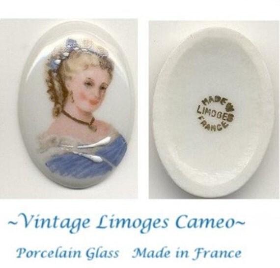 Vintage Limoges Cameo Elegant Lady Porcelain Cabochon Cab