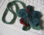 Fiber Art Necklace Felted Wool Flower Hand Knit with Victorian Glass Beads Handmade by Textilesone Ready to Ship