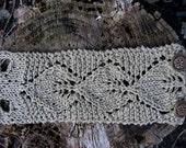 Knit Linen Cuff Bracelet Leaf Lace Cuff Handmade in Oatmeal Irish Linen Hand Knit Fiber Jewelry by Textilesone Ready to Ship