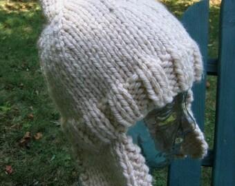Ear Flap Hat Snow Peak Helmet Style Hand Knit Seamless Cap Hand Knit Noggin Warmer by Textilesone Handmade to Order