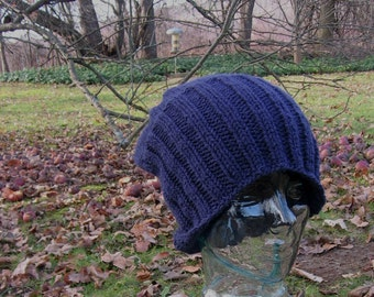 Knit Slouchy Beanie Hat Man's or Women's Classic Style Navy Blue Hipster Watch Cap Noggin Warmer Adult Large Size Ready to Ship