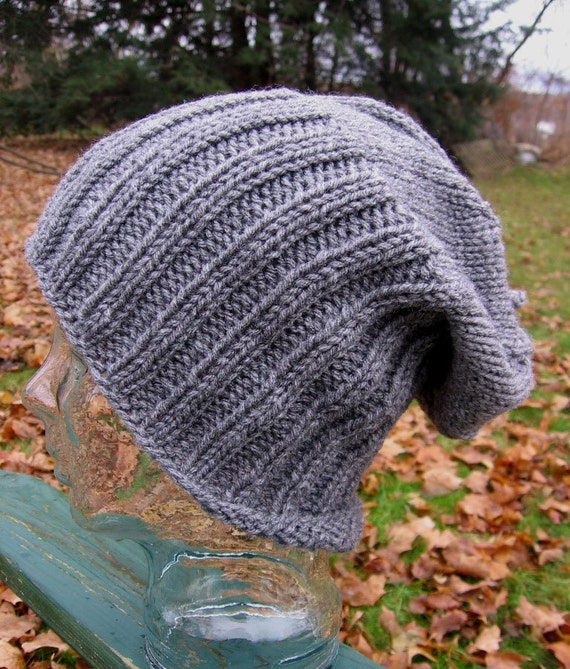 Knit Hipster Slouchy Beanie Hat Men or Women Classic Style Silver Grey Watch Cap Handmade Noggin Warmer Adult Large Ready to Ship