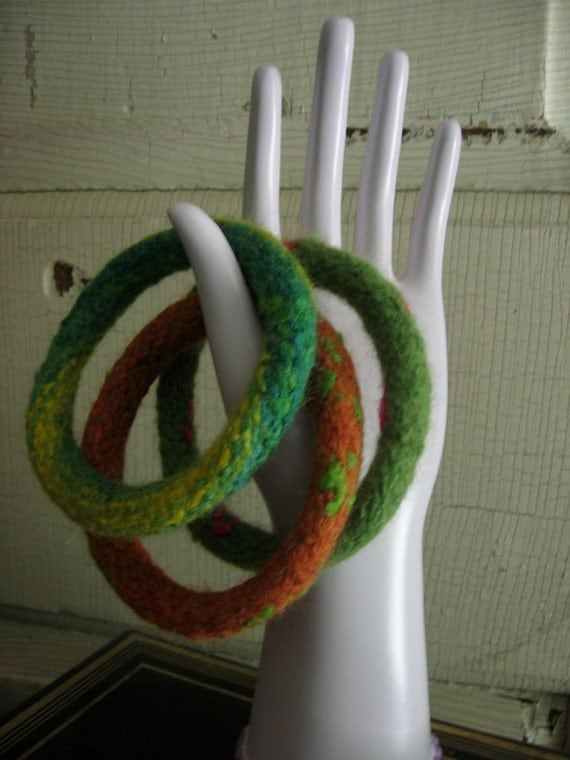 Wool Bangles Bracelets Set of Three Handmade Felted Wool Fiber Jewelry from Textilesone Ready to Ship