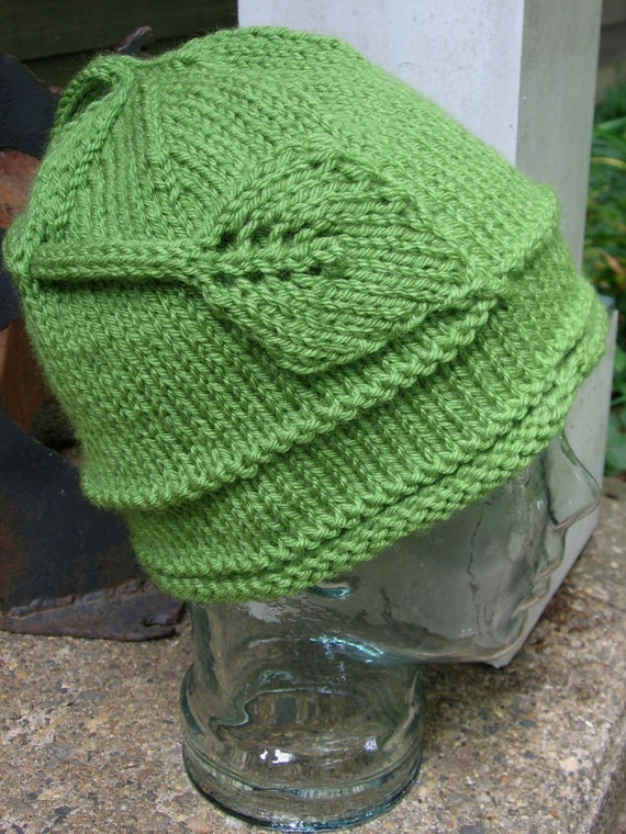 Leaf Applique Beanie Handmade Hat Seamless Knit Cap by Textilesone Farmers Market Hat Adult Size Ready to Ship