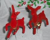 New Old Stock - Two Velvety Red Flocked Reindeer