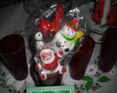 After Christmas Sale- Set of Vintage Flocked Christmas Picks in Original Packaging