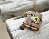 MiniatureBook Heart lock & Vintage Brown Color leather