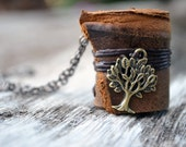 MiniatureBook Necklace Tree & Vintage Tan gradients leather.