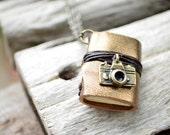 MiniatureBook Necklace camera & Vintage Dark Gold leather