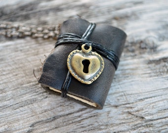 MiniatureBook Necklace Lock Heart & Black Color leather