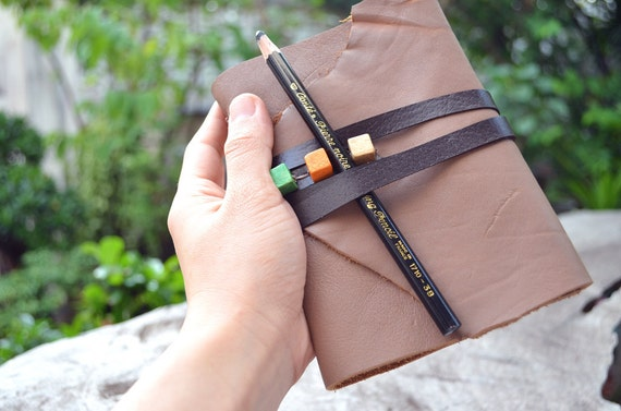 Milk chocolate color Leather Notebook A6