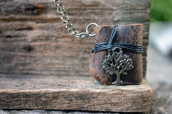 MiniatureBook Necklace Tree & Vintage Brown leather
