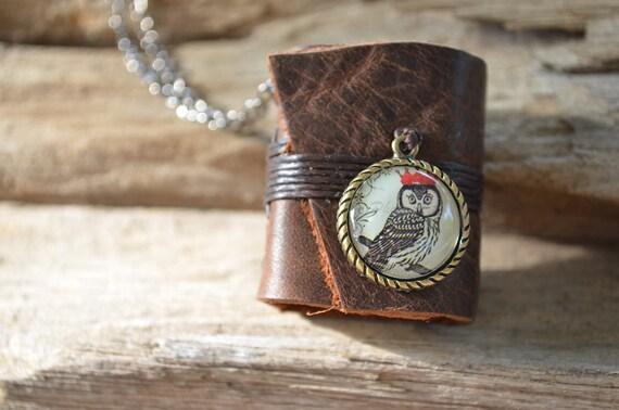 MiniBook Necklace Owl Princess & Vintage Brown Color leather