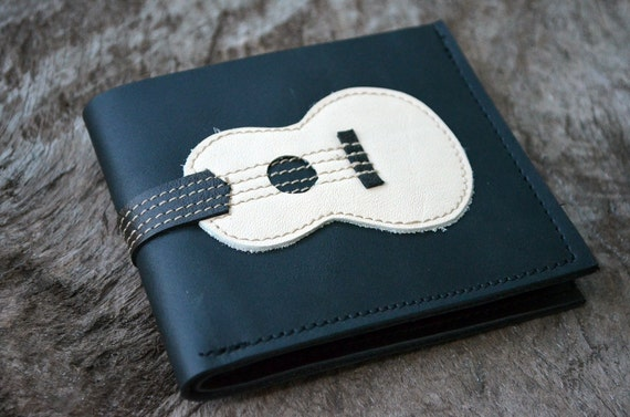 SALE 50%Men Wallet Ukulele White & Black Color leather
