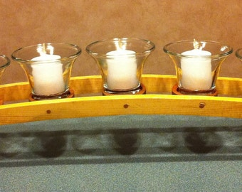 Wooden Arched Two-Tone Votive Candle Holder