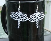 Dragonfly, lace earrings,sterling silver earwires
