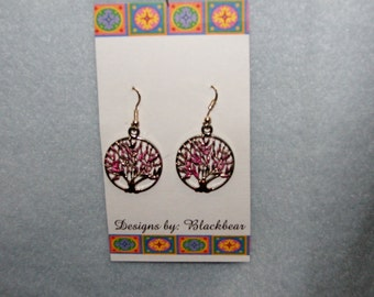 Handcrafted little lucky PINK  tree dangle earrings with sterling silver earwires.