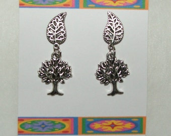 Handcrafted little lucky tree dangle post style earrings