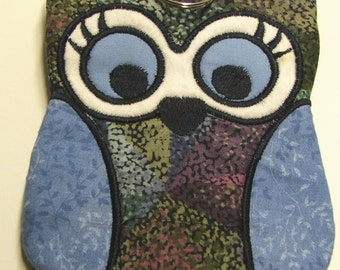 One of a Kind Zippered Owl Case, for cards, cash, coin, gadgets and more.