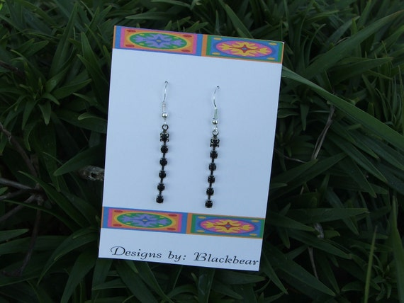 Handcrafted black crystal dangle earrings with Sterling silver earwires