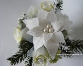CLAYCRAFT by DECO - Festive White Poinsettia accented with Greenery