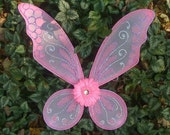 Pink Purple and Silver with Pink Flower Fairy Princess Butterfly Wings for Halloween costume, raves, festivals and fun made in Vermont