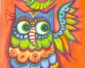 Owl - original watercolor painting - ACEO- multicolor illustration - animals painting -bird  portrait- wings