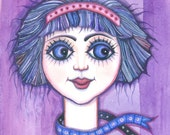 Springtime Girl - original watercolor painting - fine art - purple - blue- original illustration - molMolly