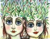 Sisterhood - original  watercolor ACEO