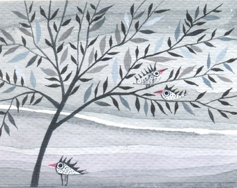 Gray  Day - ACEO - original watercolor painting
