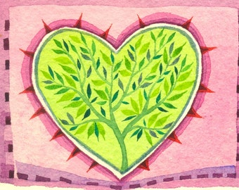 Love Forever Green - original watercolor painting - fine art- valentines day
