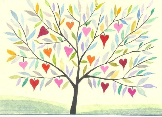 Tree of Hearts - original watercolor painting