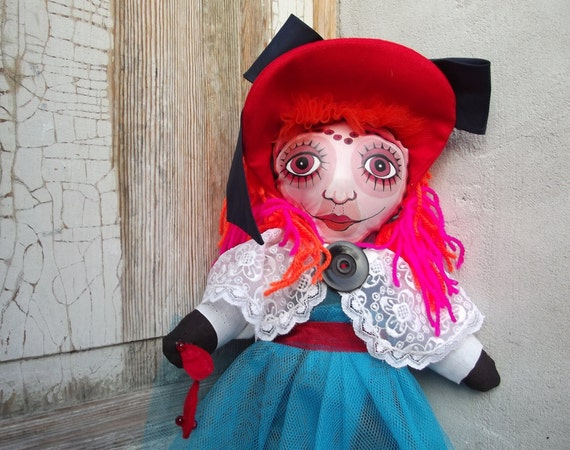 Little Red Riding Hood -  Art Doll - VooDoo puppet - hand sewn - hand painted