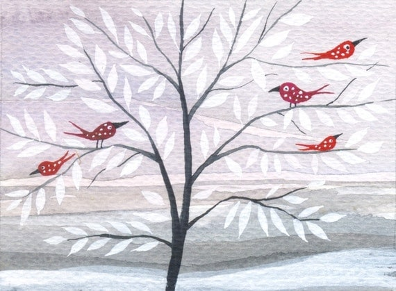 Frosty Morning - original watercolor ACEO - winter landscape - tree- red birds- snow