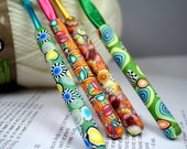 Polymer clay covered crochet hook set of 4, New Susan Bates brand, Sizes H8, I9, j10, K10.5