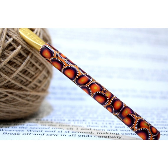 Polymer clay covered crochet hook handle, new size J10 or 6mm, Susan Bates brand